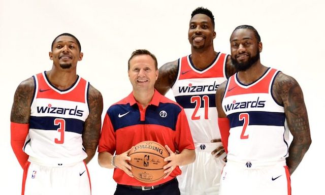 Des joueurs des <i>Washington Wizards</i>, l'équipe de basket de Washington, DC.