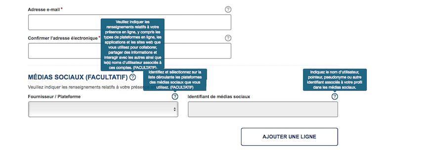 Bulles d'aides pour la question réseaux sociaux demandés sur le formulaire de l'ESTA