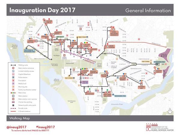 Plan détaillé du secteur du Mall le jour de l'investiture présidentiel