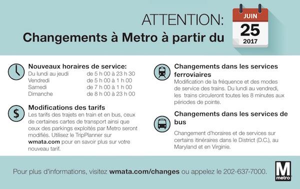Changements pour le métro et bus de Washington, DC