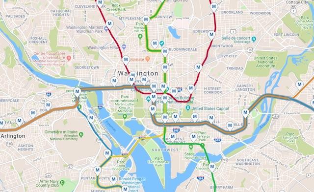 Le plan intéractif du métro de Washington sur le site du WMATA