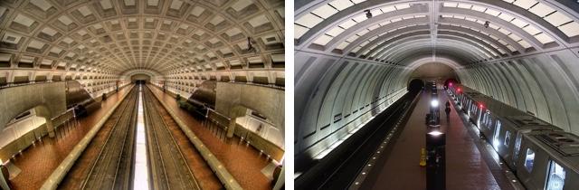 Exemples de deux aménagements de stations de métro à Washington