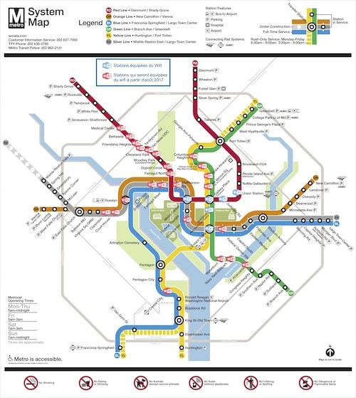Stations de métro à Washington équipées du WiFi ou qui vont l'être