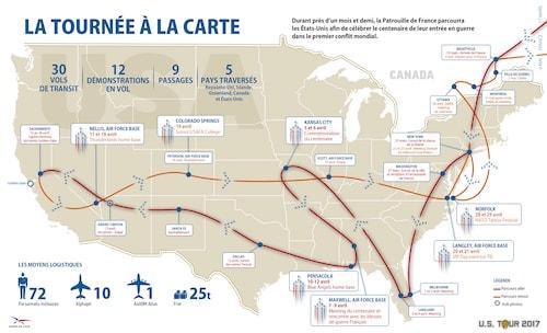 Carte du trajet de la Patrouille de France aux États-Unis