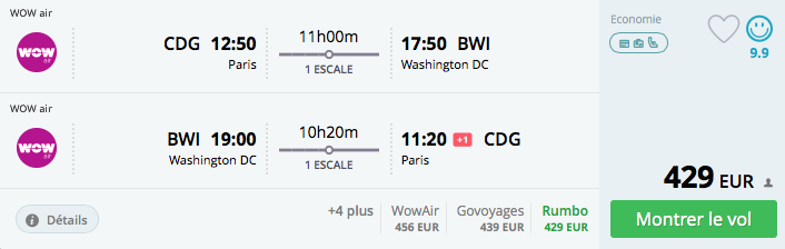 Vol Paris-Washington de Wow Air à 520€ par personne