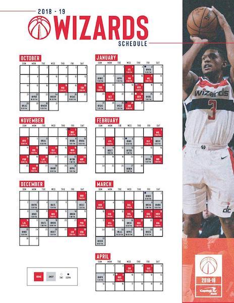 Calendrier de la saison 2018-2019 des <i>Washington Wizards</i> pour le championnat NBA