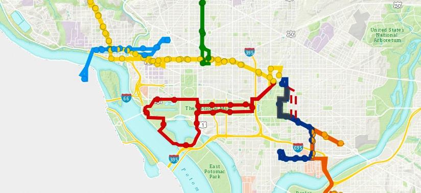 Plan des lignes du DC Circulator