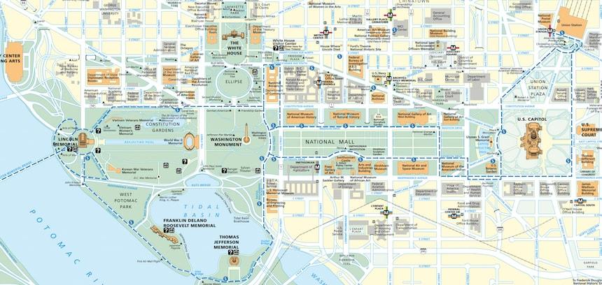 Plan du Mall de Washington