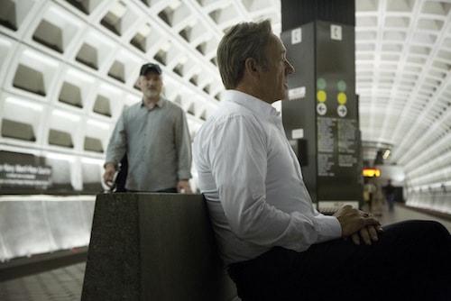 Kevin Spacey et le réalisateur David Fincher dans le métro de Washington, DC