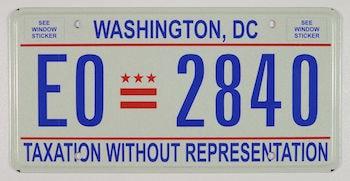 Exemple d'une plaque d'immatriculation à Washington, DC